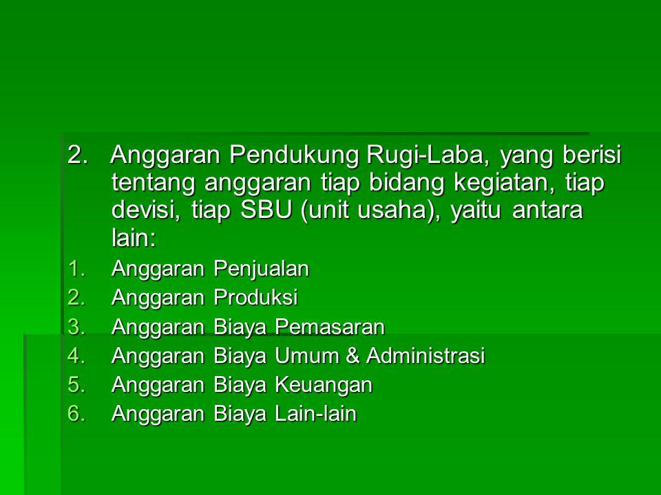 2. Anggaran Pendukung Rugi-Laba, yang berisi tentang anggaran tiap bidang kegiatan, tiap devisi, tiap SBU (unit usaha), yaitu antara lain: