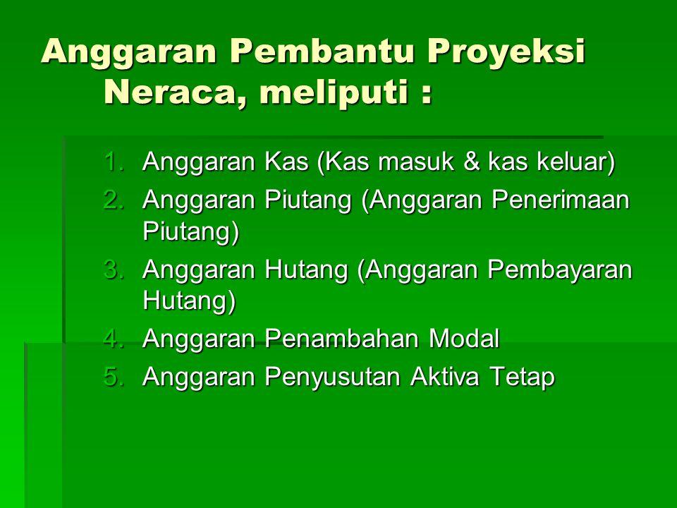 Anggaran Pembantu Proyeksi Neraca, meliputi :