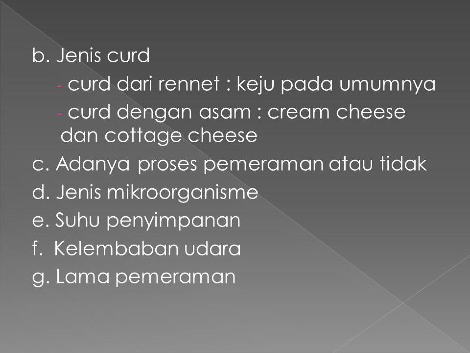 b. Jenis curd curd dari rennet : keju pada umumnya. curd dengan asam : cream cheese dan cottage cheese.