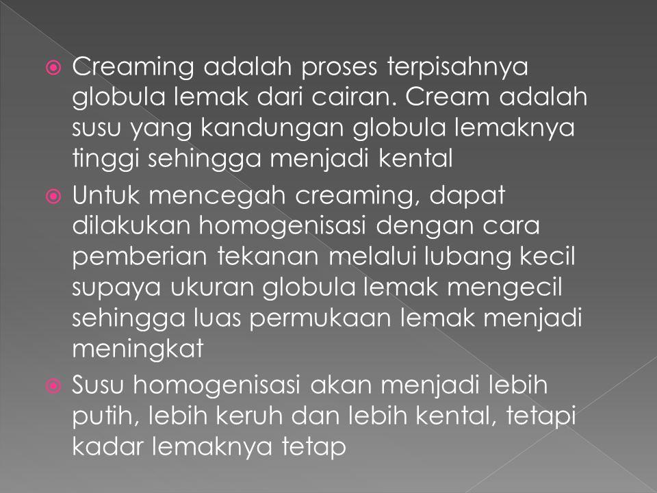 Creaming adalah proses terpisahnya globula lemak dari cairan
