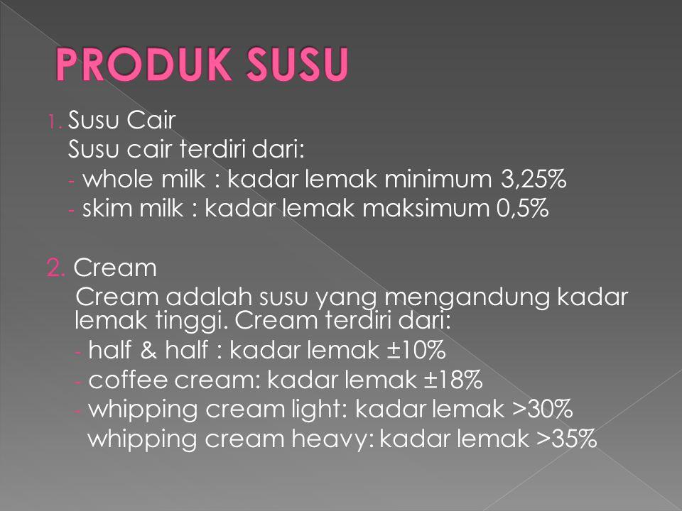 PRODUK SUSU Susu Cair Susu cair terdiri dari: