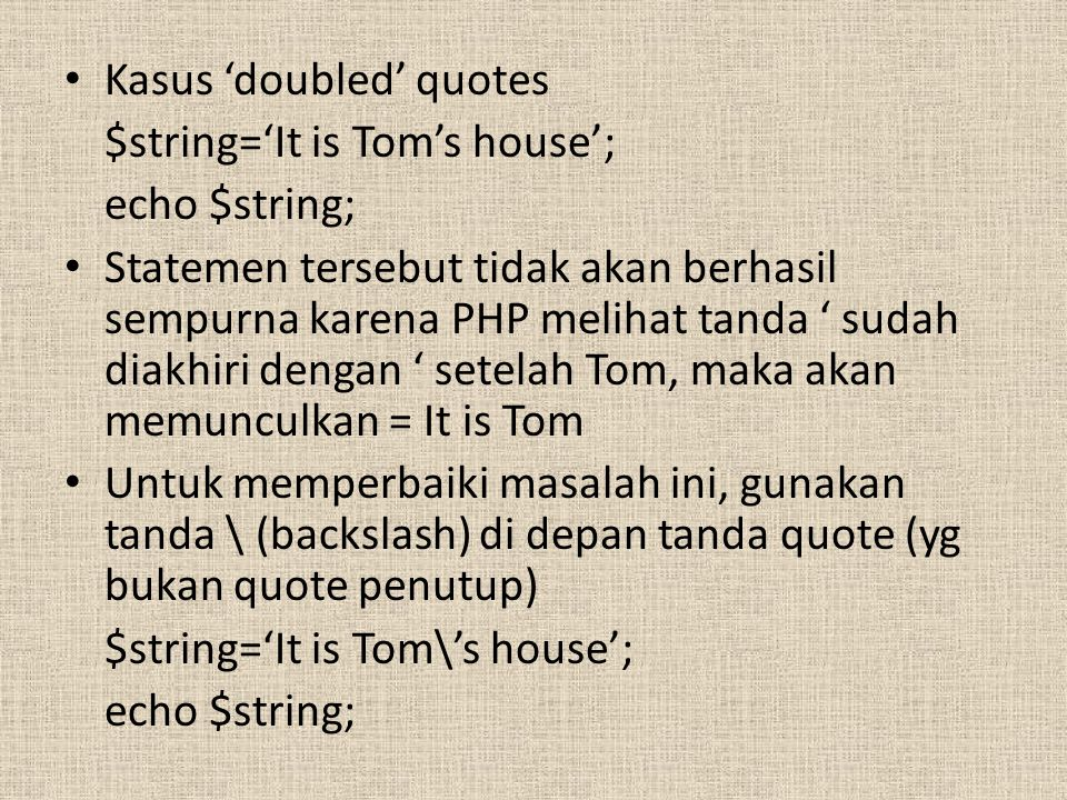 Kasus 'doubled' quotes