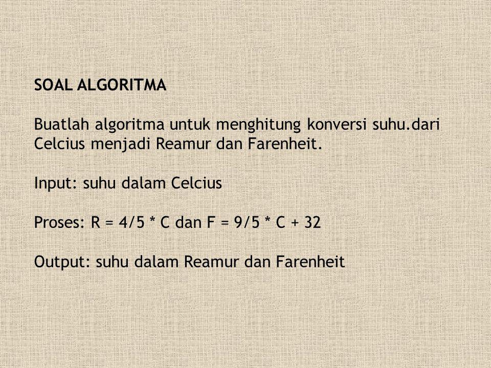 SOAL ALGORITMA Buatlah algoritma untuk menghitung konversi suhu.dari Celcius menjadi Reamur dan Farenheit.
