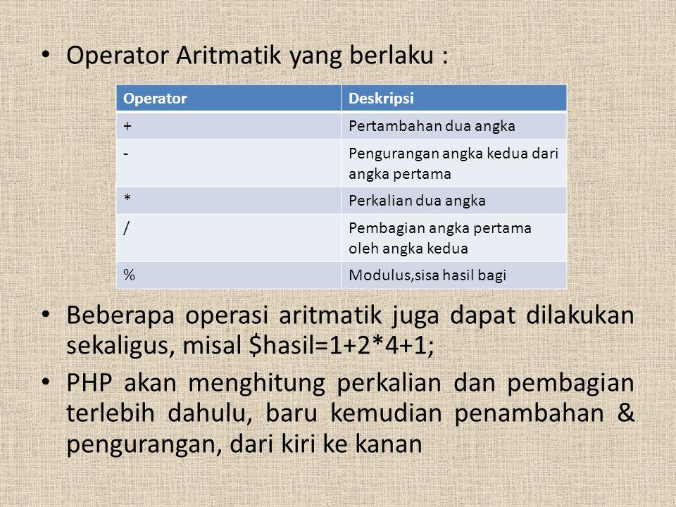 Operator Aritmatik yang berlaku :