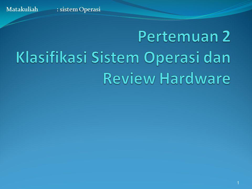 Pertemuan 2 Klasifikasi Sistem Operasi dan Review Hardware