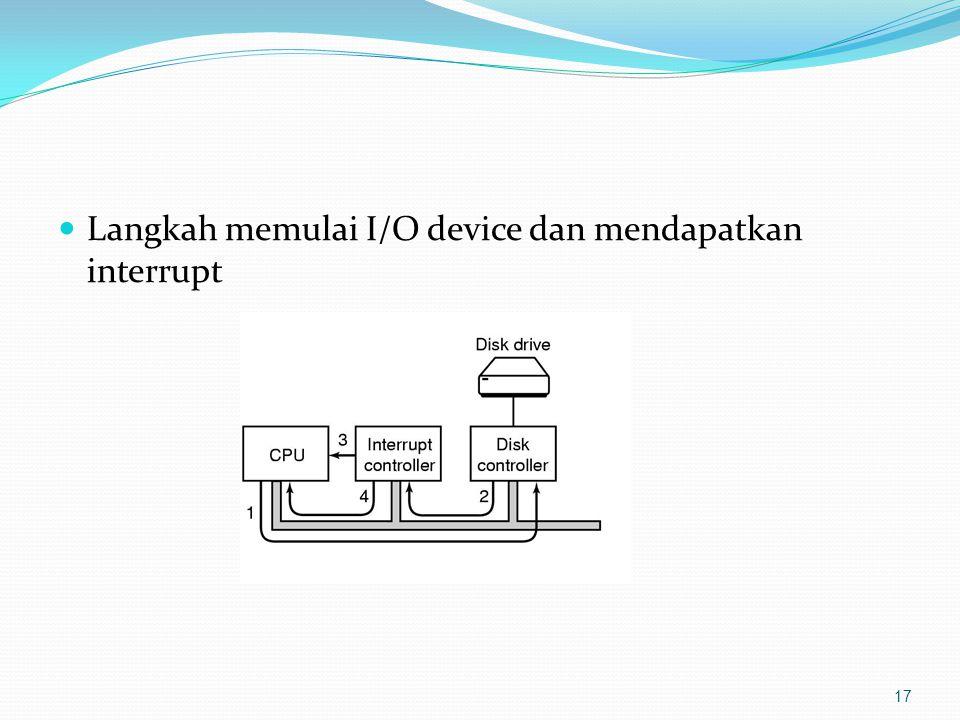 Langkah memulai I/O device dan mendapatkan interrupt