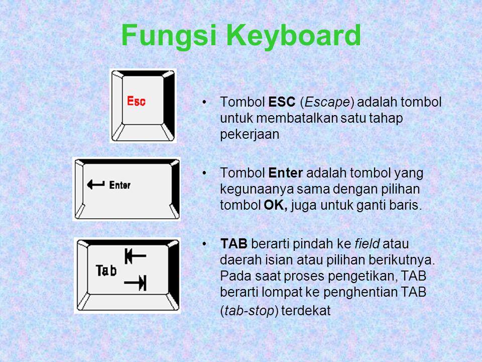 Fungsi Keyboard Tombol ESC (Escape) adalah tombol untuk membatalkan satu tahap pekerjaan.