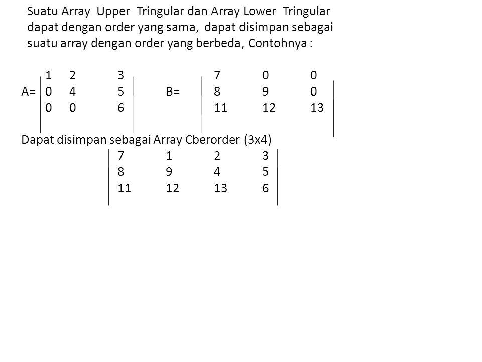 Suatu Array Upper Tringular dan Array Lower Tringular dapat dengan order yang sama, dapat disimpan sebagai suatu array dengan order yang berbeda, Contohnya : 1 2 3 7 0 0 A= 0 4 5 B= 8 9 0 0 0 6 11 12 13 Dapat disimpan sebagai Array Cberorder (3x4) 7 1 2 3 8 9 4 5 11 12 13 6