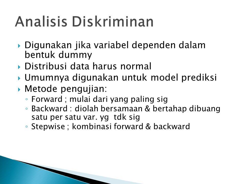 Analisis Diskriminan Digunakan jika variabel dependen dalam bentuk dummy. Distribusi data harus normal.