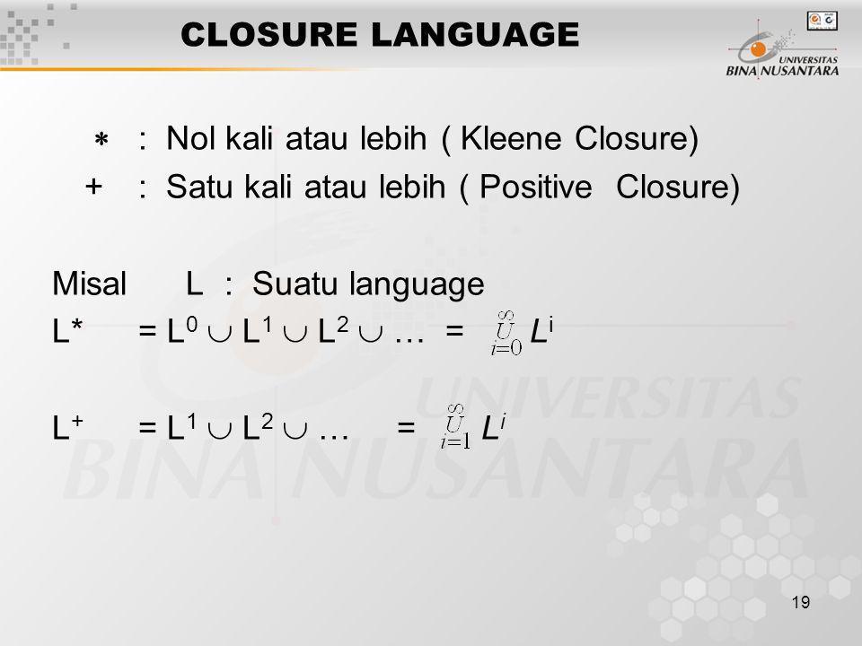 CLOSURE LANGUAGE  : Nol kali atau lebih ( Kleene Closure) + : Satu kali atau lebih ( Positive Closure)