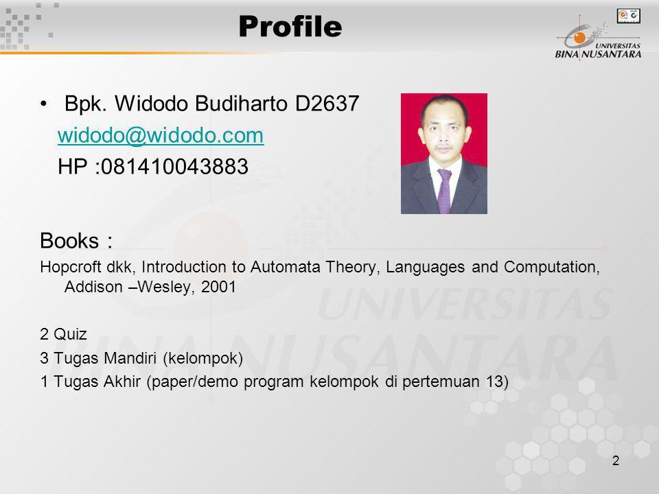 Profile Bpk. Widodo Budiharto D2637 widodo@widodo.com HP :081410043883