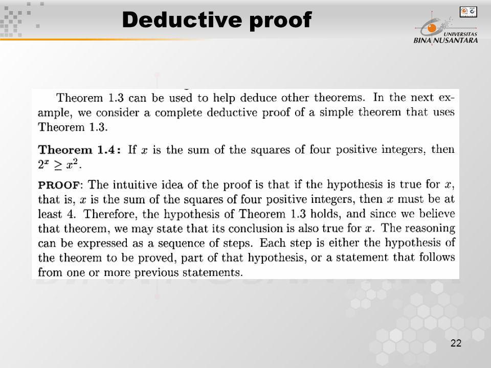 Deductive proof