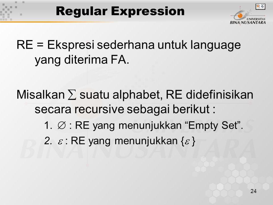 RE = Ekspresi sederhana untuk language yang diterima FA.