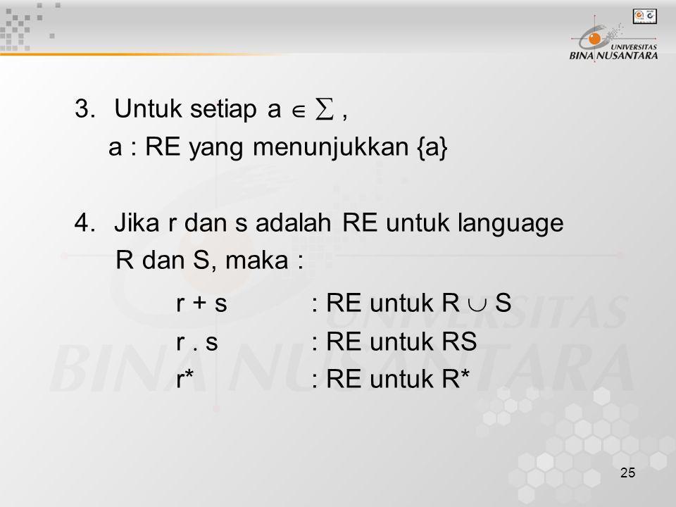 r + s : RE untuk R  S Untuk setiap a   ,