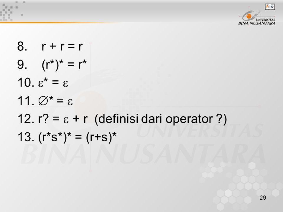 8. r + r = r 9. (r*)* = r* * =  * =  r.