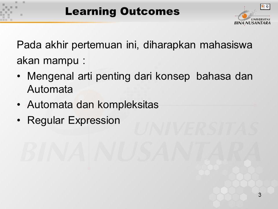 Learning Outcomes Pada akhir pertemuan ini, diharapkan mahasiswa. akan mampu : Mengenal arti penting dari konsep bahasa dan Automata.