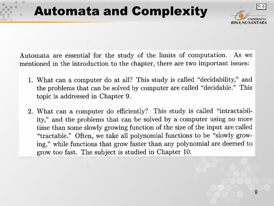 Automata and Complexity