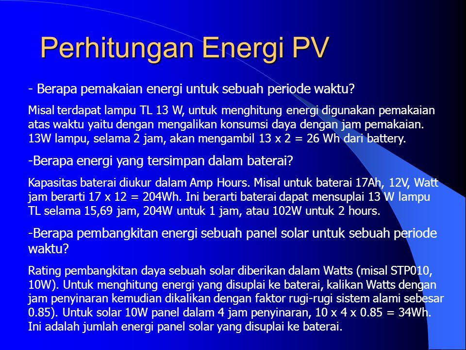 Perhitungan Energi PV - Berapa pemakaian energi untuk sebuah periode waktu