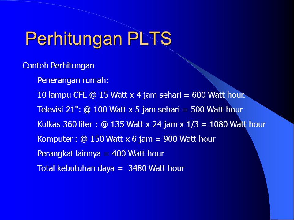 Perhitungan PLTS Contoh Perhitungan Penerangan rumah: