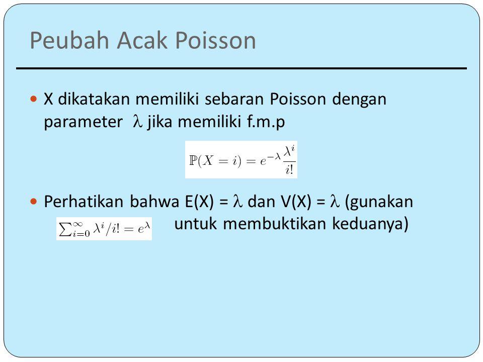 Peubah Acak Poisson X dikatakan memiliki sebaran Poisson dengan parameter  jika memiliki f.m.p.
