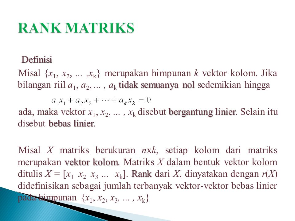 RANK MATRIKS