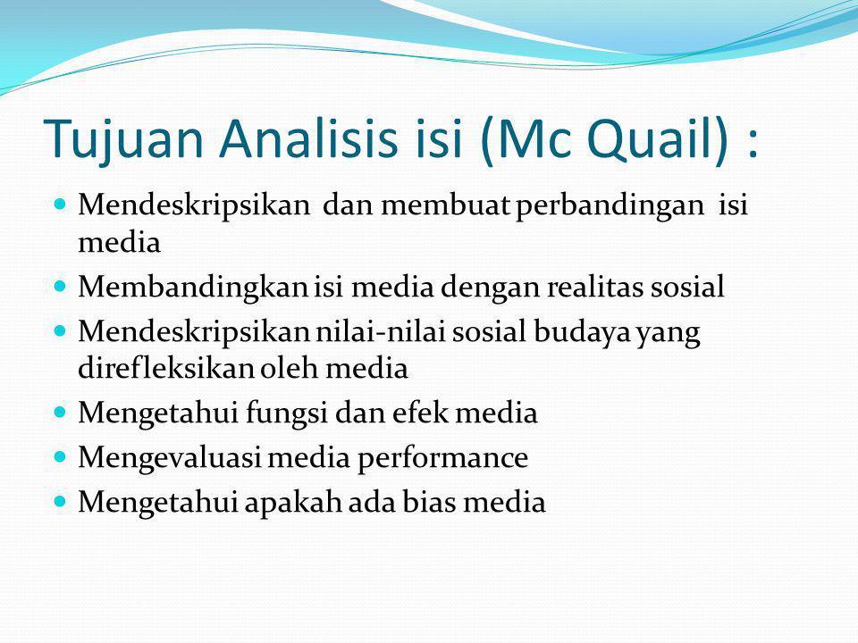 Tujuan Analisis isi (Mc Quail) :