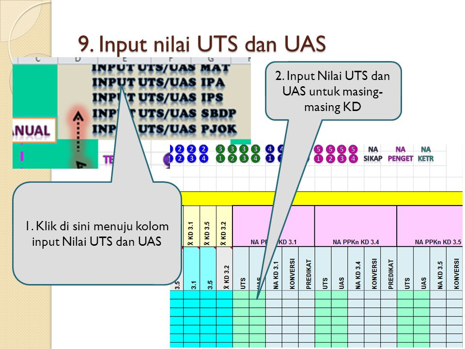 9. Input nilai UTS dan UAS 2. Input Nilai UTS dan UAS untuk masing-masing KD.