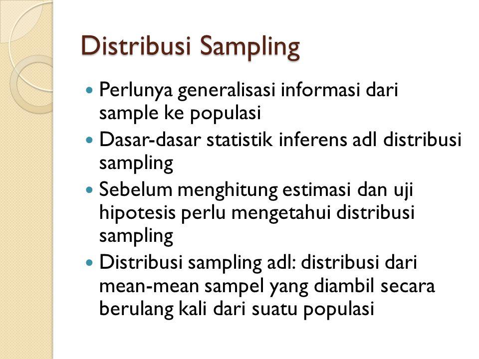 Distribusi Sampling Perlunya generalisasi informasi dari sample ke populasi. Dasar-dasar statistik inferens adl distribusi sampling.