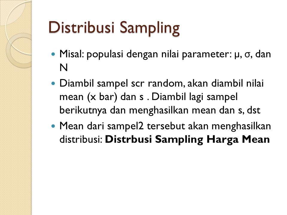 Distribusi Sampling Misal: populasi dengan nilai parameter: µ, σ, dan N.