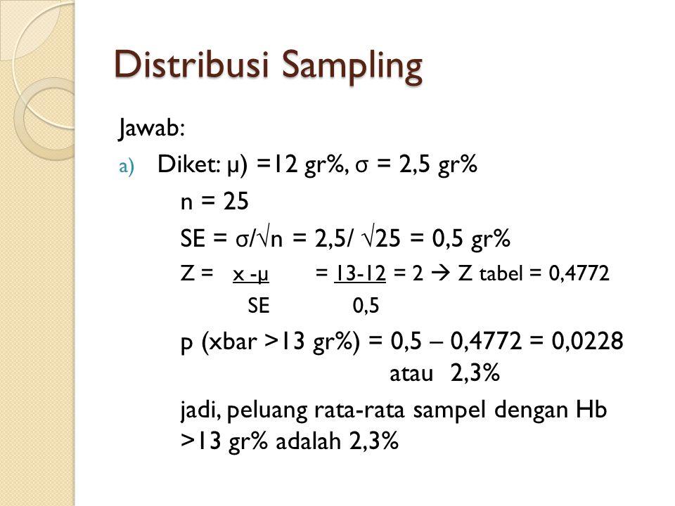 Distribusi Sampling Jawab: Diket: µ) =12 gr%, σ = 2,5 gr% n = 25