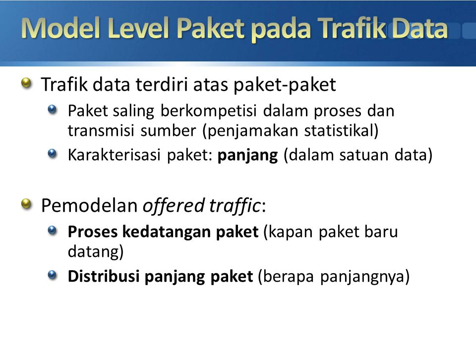 Model Level Paket pada Trafik Data