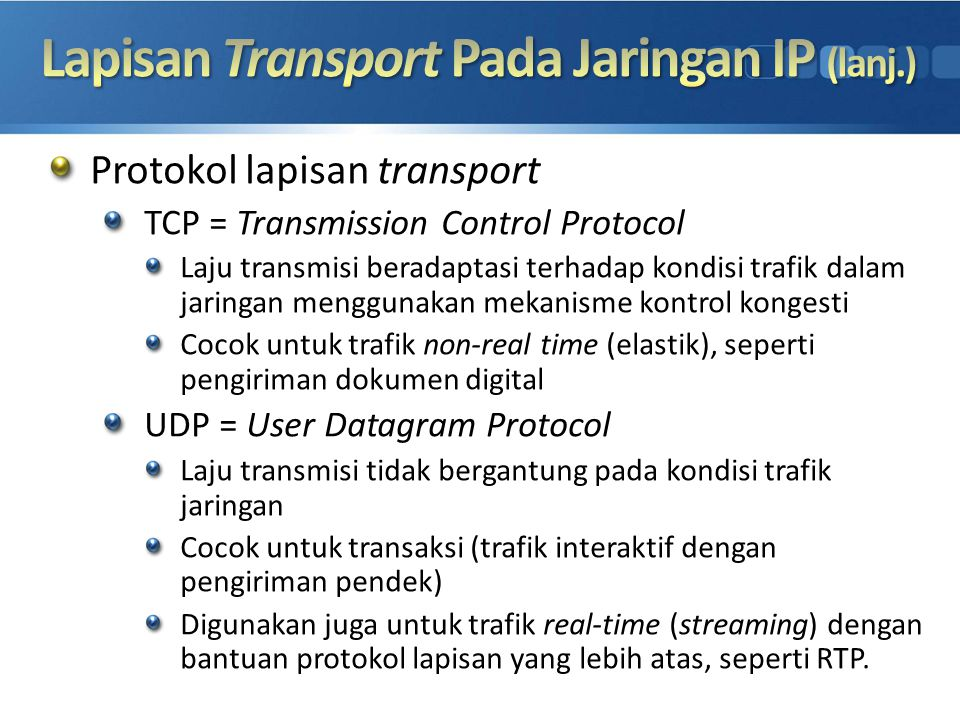 Lapisan Transport Pada Jaringan IP (lanj.)