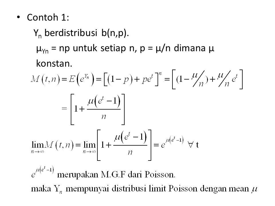 Contoh 1: Yn berdistribusi b(n,p). µYn = np untuk setiap n, p = µ/n dimana µ konstan.