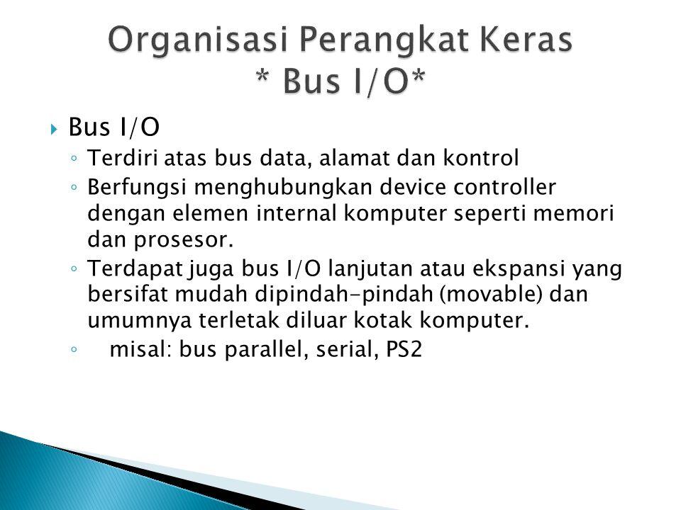 Organisasi Perangkat Keras * Bus I/O*