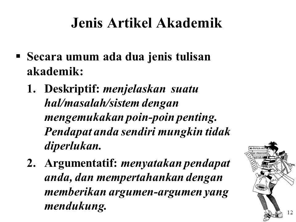 Jenis Artikel Akademik