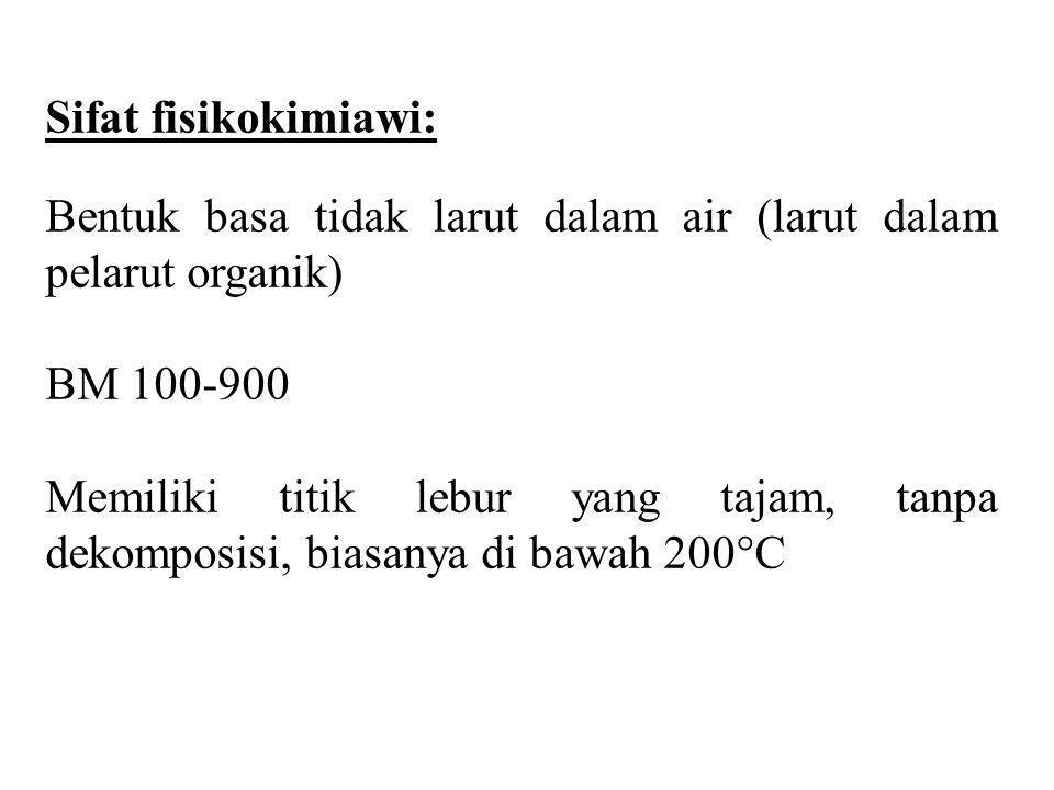 Sifat fisikokimiawi: Bentuk basa tidak larut dalam air (larut dalam pelarut organik) BM 100-900.