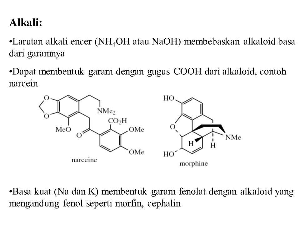 Alkali: Larutan alkali encer (NH4OH atau NaOH) membebaskan alkaloid basa dari garamnya.
