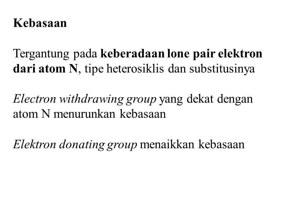 Kebasaan Tergantung pada keberadaan lone pair elektron dari atom N, tipe heterosiklis dan substitusinya.