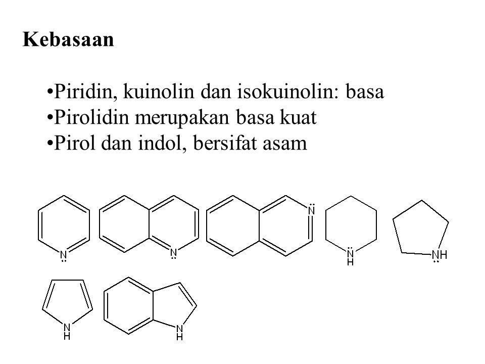 Kebasaan Piridin, kuinolin dan isokuinolin: basa. Pirolidin merupakan basa kuat.