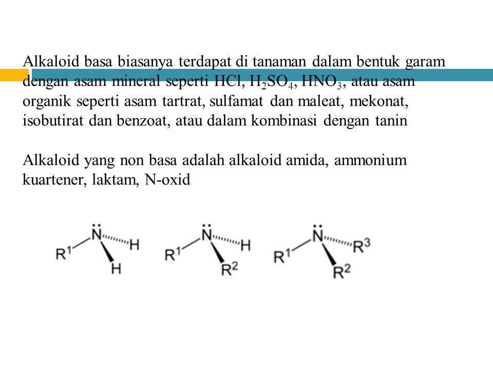 Alkaloid basa biasanya terdapat di tanaman dalam bentuk garam dengan asam mineral seperti HCl, H2SO4, HNO3, atau asam organik seperti asam tartrat, sulfamat dan maleat, mekonat, isobutirat dan benzoat, atau dalam kombinasi dengan tanin