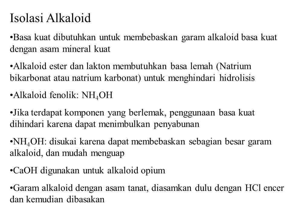 Isolasi Alkaloid Basa kuat dibutuhkan untuk membebaskan garam alkaloid basa kuat dengan asam mineral kuat.
