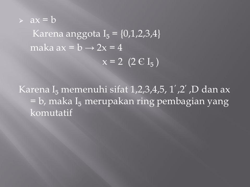 ax = b Karena anggota I5 = {0,1,2,3,4} maka ax = b → 2x = 4. x = 2 (2 Є I5 )
