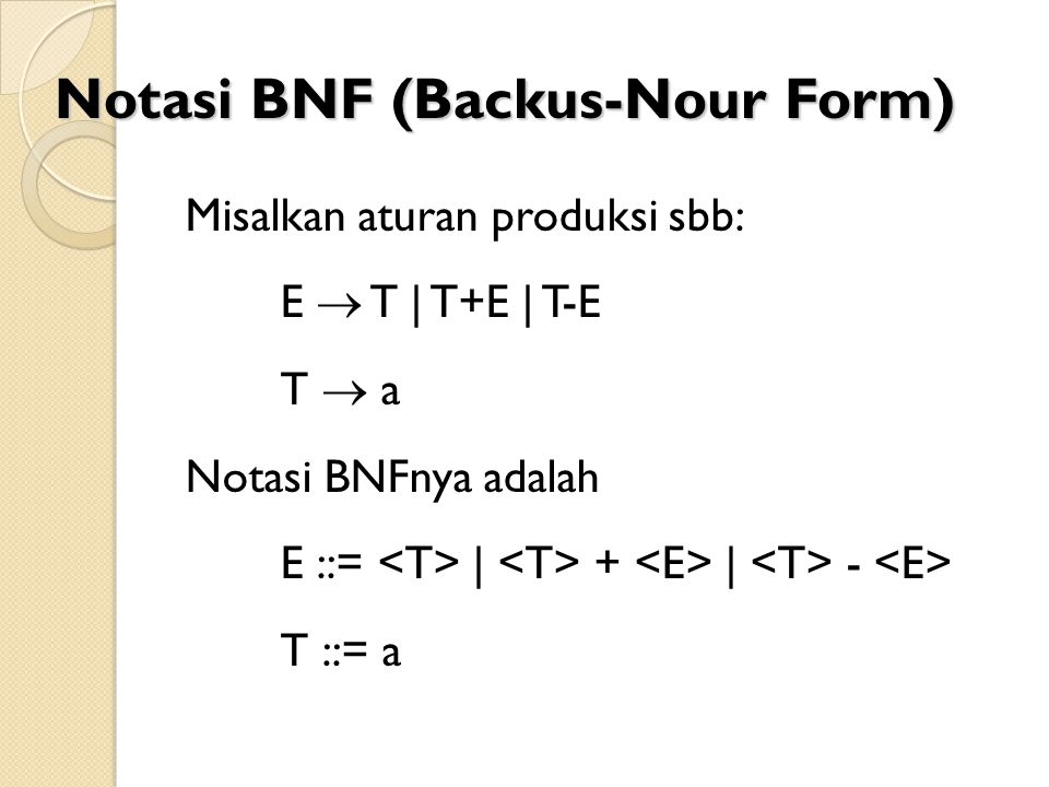Notasi BNF (Backus-Nour Form)
