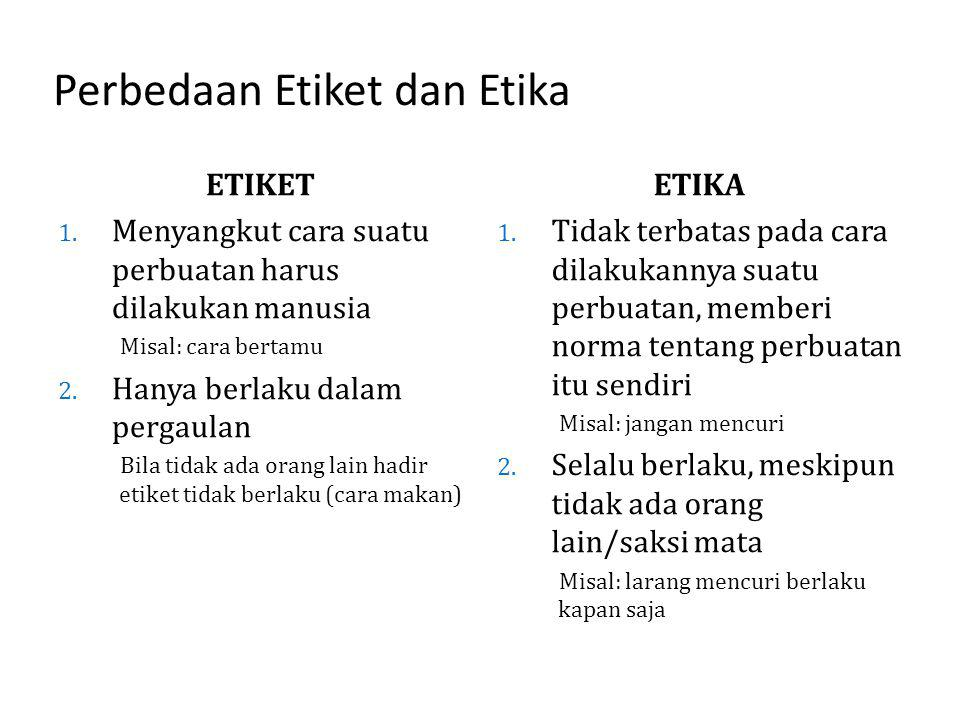 Perbedaan Etiket dan Etika