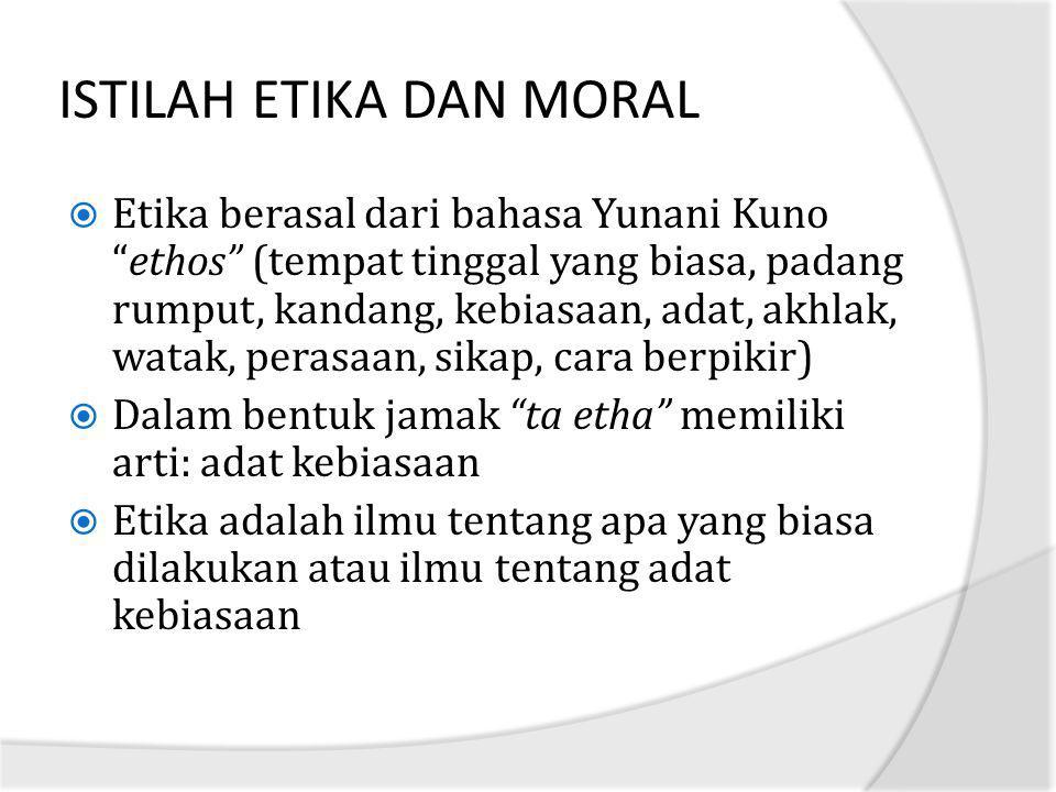 ISTILAH ETIKA DAN MORAL