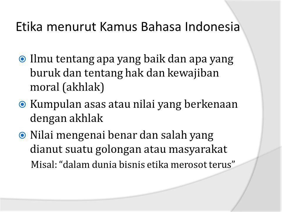 Etika menurut Kamus Bahasa Indonesia