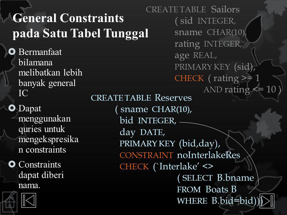 General Constraints pada Satu Tabel Tunggal