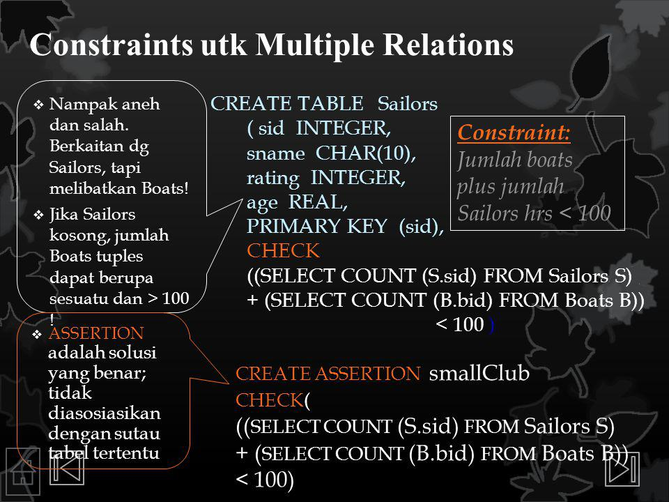 Constraints utk Multiple Relations