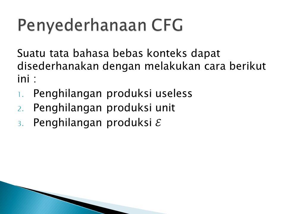 Penyederhanaan CFG Suatu tata bahasa bebas konteks dapat disederhanakan dengan melakukan cara berikut ini :