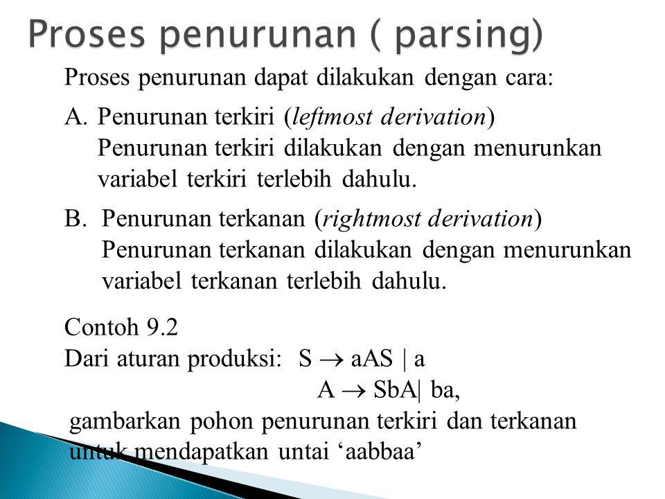 Proses penurunan ( parsing)
